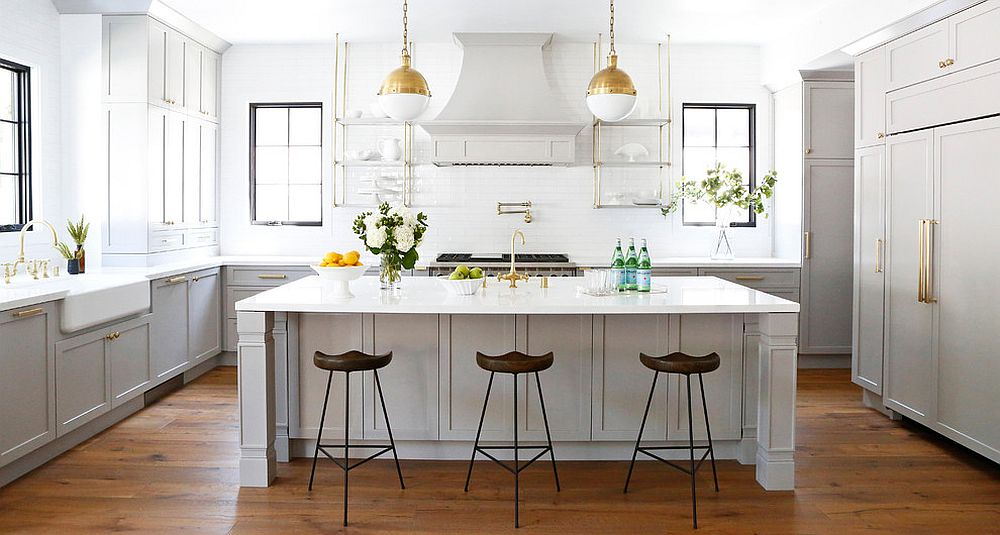 A neutral backdrop allows the brass additions to shine through even more!