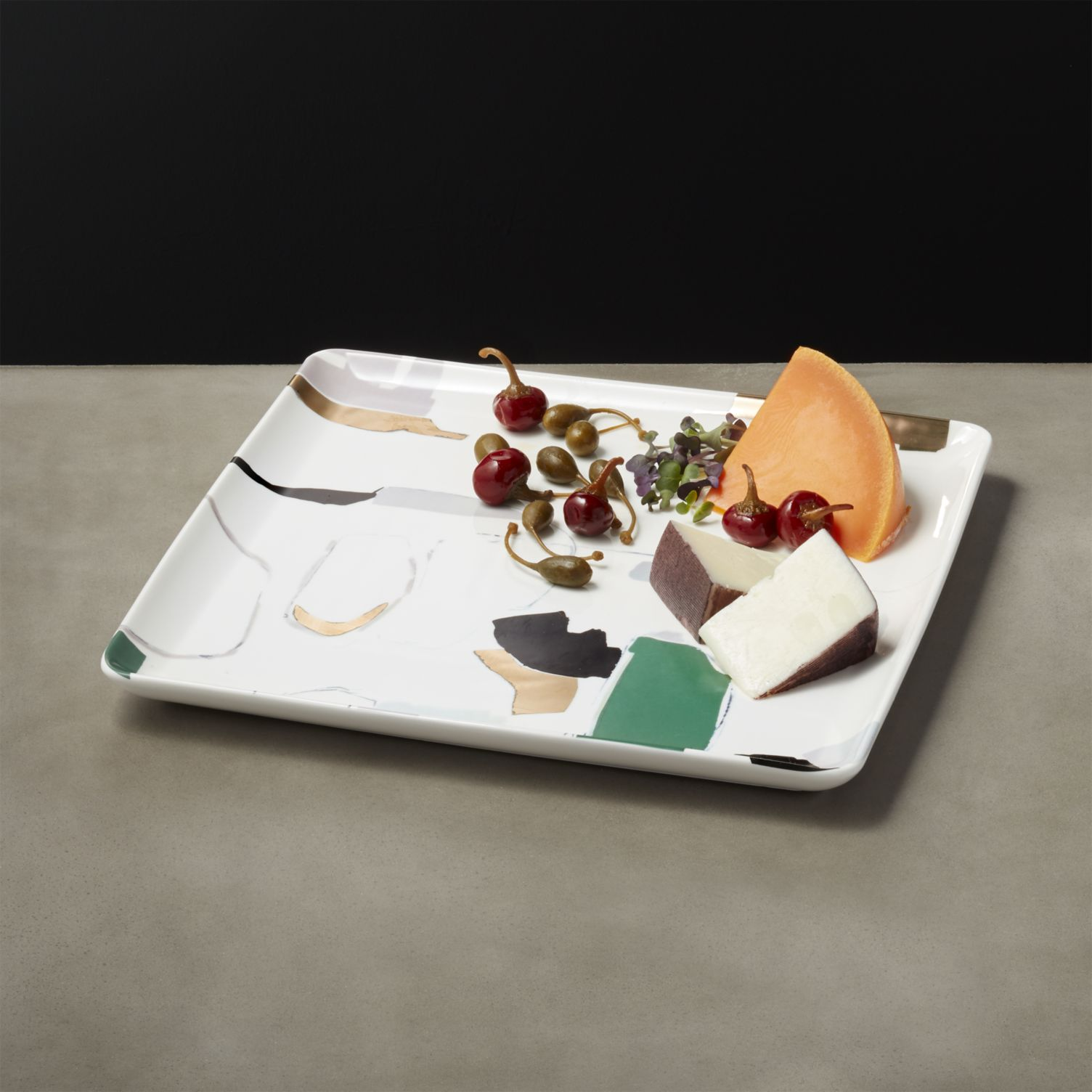Abstract modern serving platter from CB2