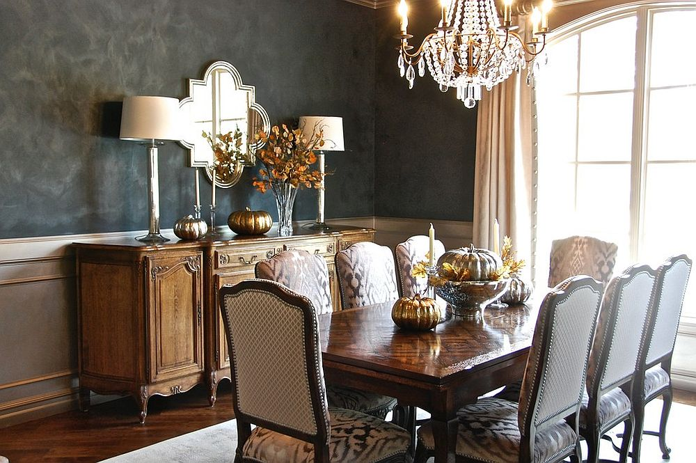 Adding glam and radiance to the fall dining tablescape with gold and chandelier