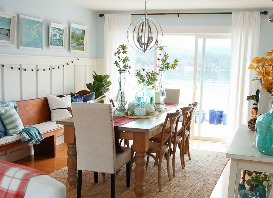 Coastal style coupled with fall charm in the white and light blue dining room