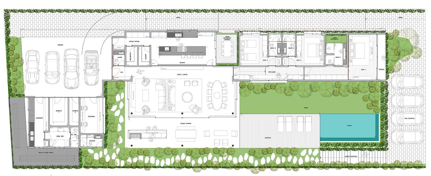 Floor plan of Casa JCM in Brazil