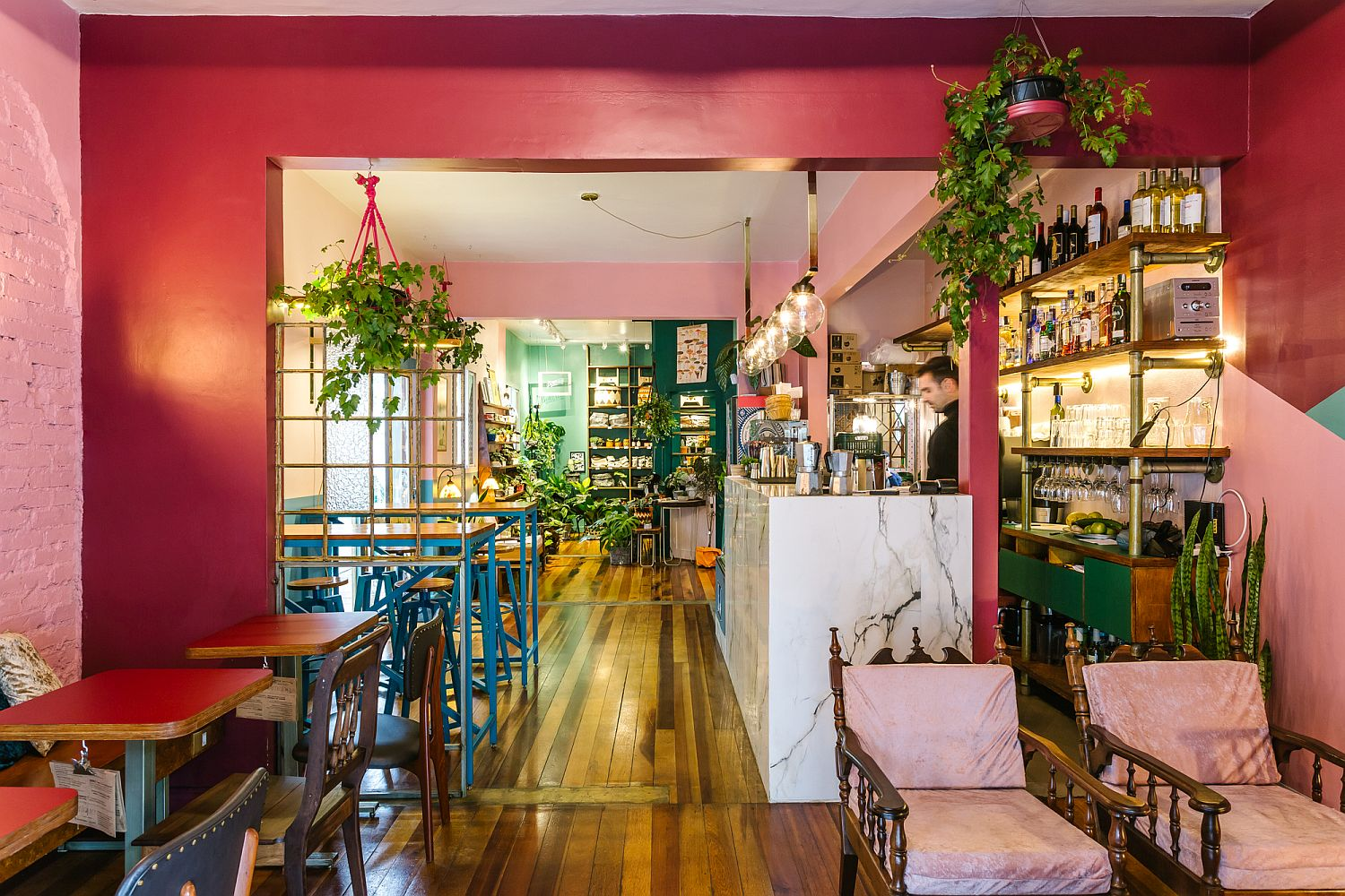 Gorgeous new interior of Botanique with greenery and bright colors
