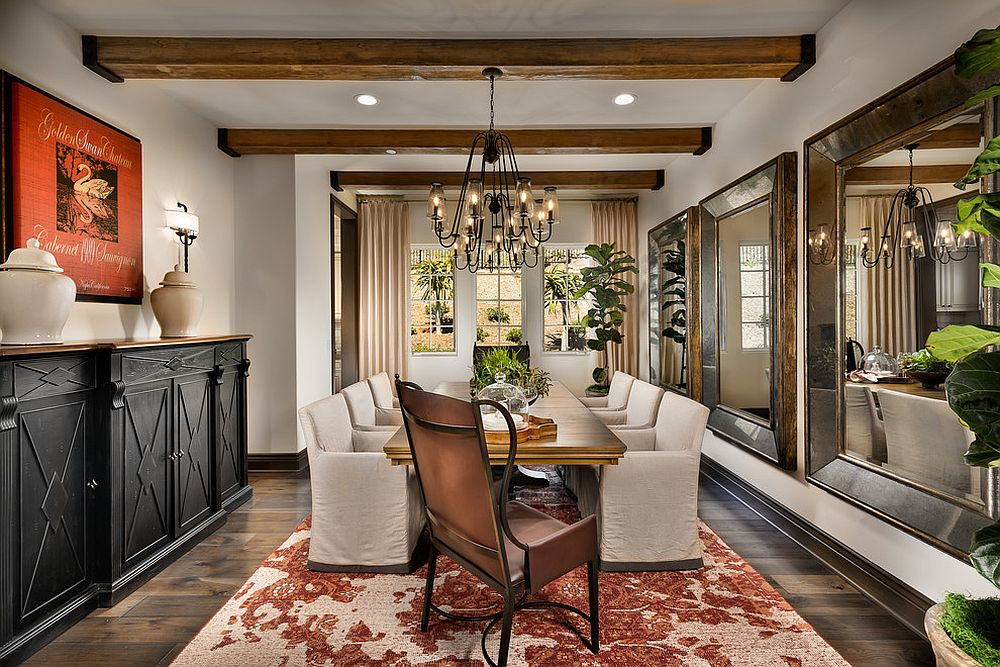 Grand dining space with ample greenery is perfect for fall and beyond