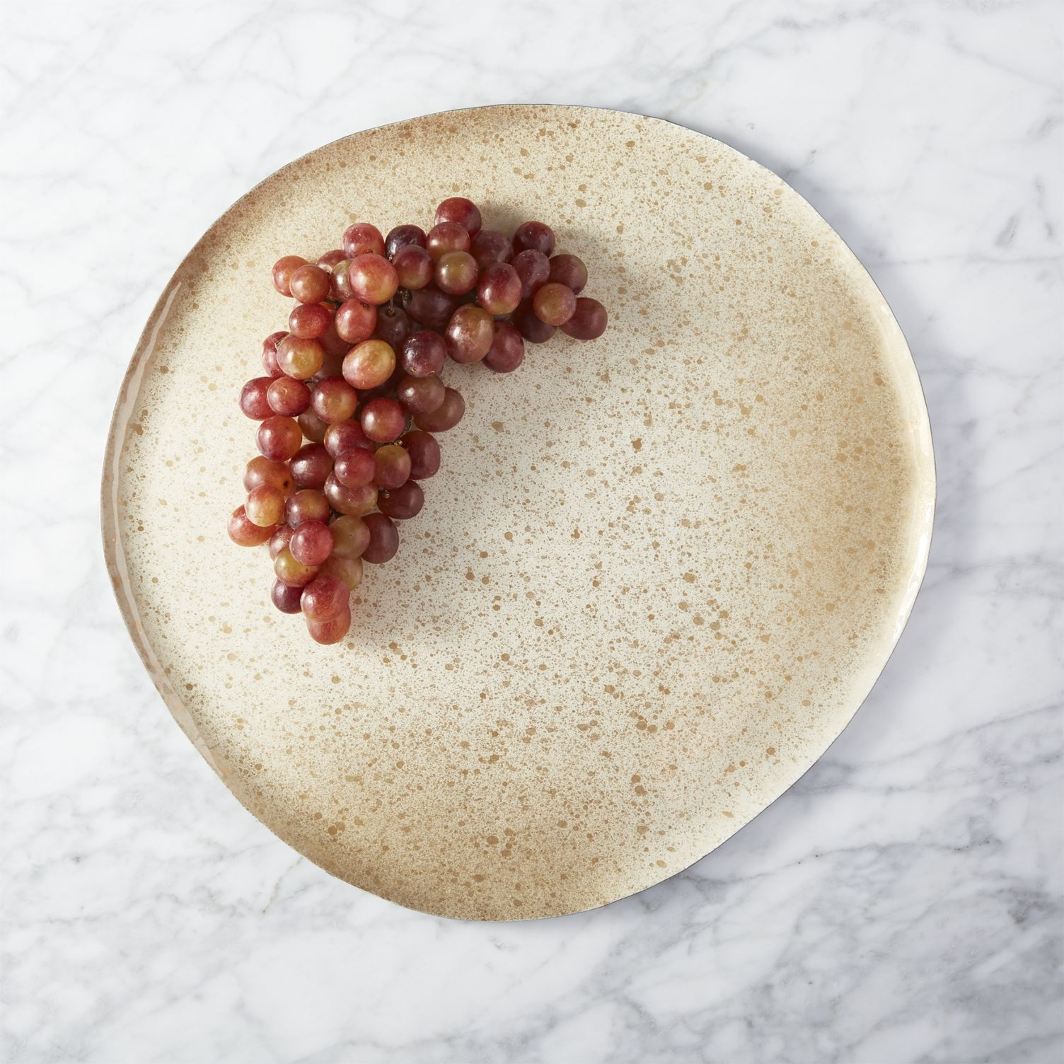 Grapes on an enamel serving platter from CB2