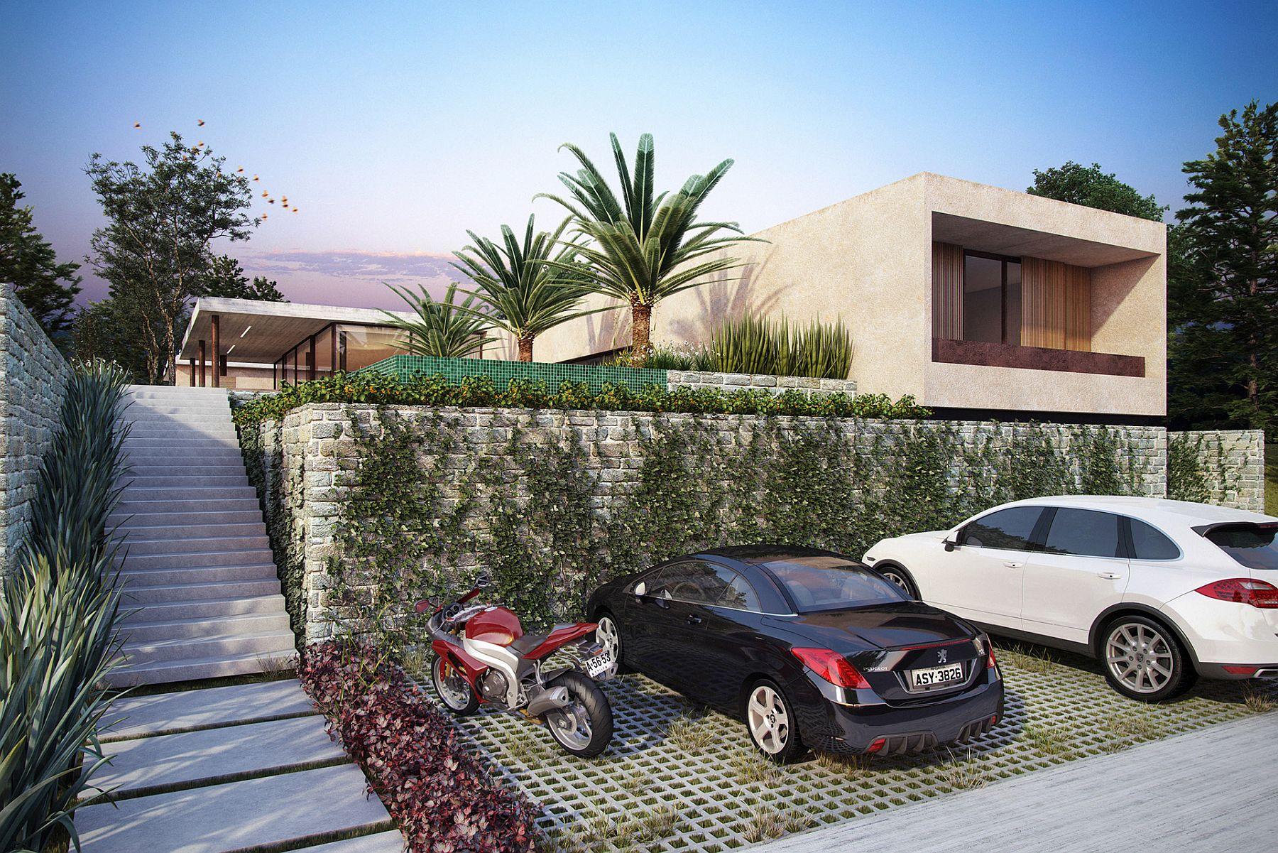 Hidden basement parking lot gives the home on uneven lot a smart, contempoarry look