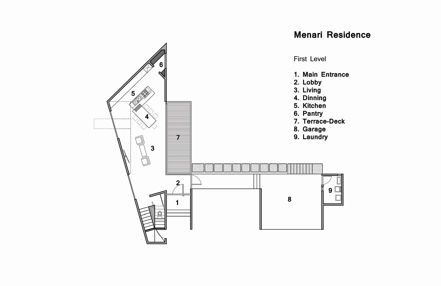 Lower level floor plan of MENARI Residence