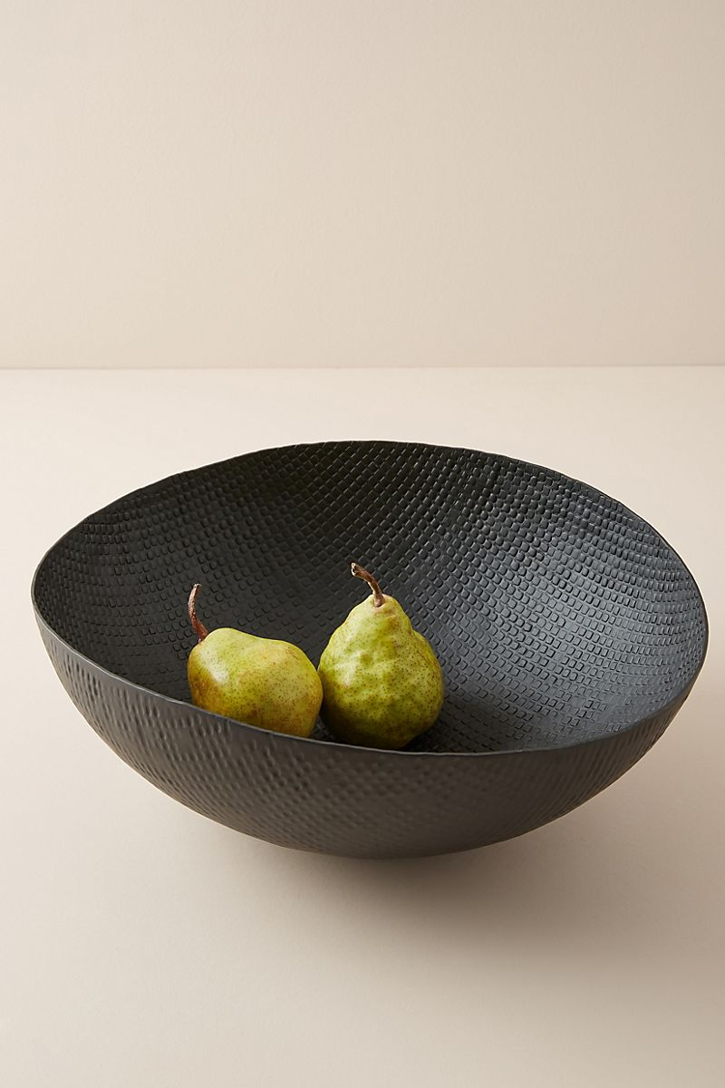 Pears in a black serving bowl from Anthropologie
