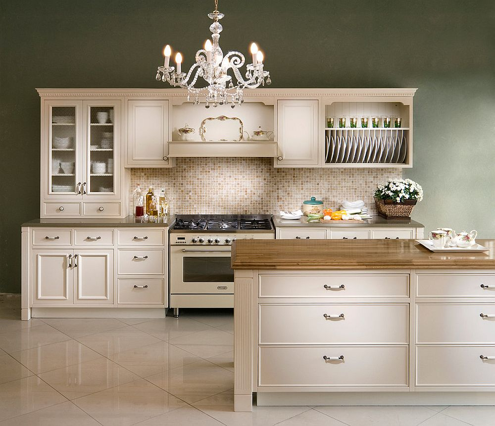 Polished traditional kitchen with cool shelving