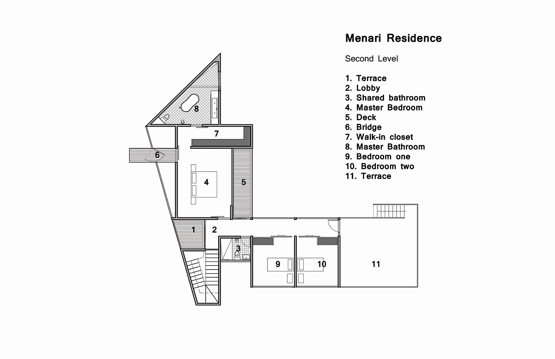 Second level floor plan of MENARI Residence