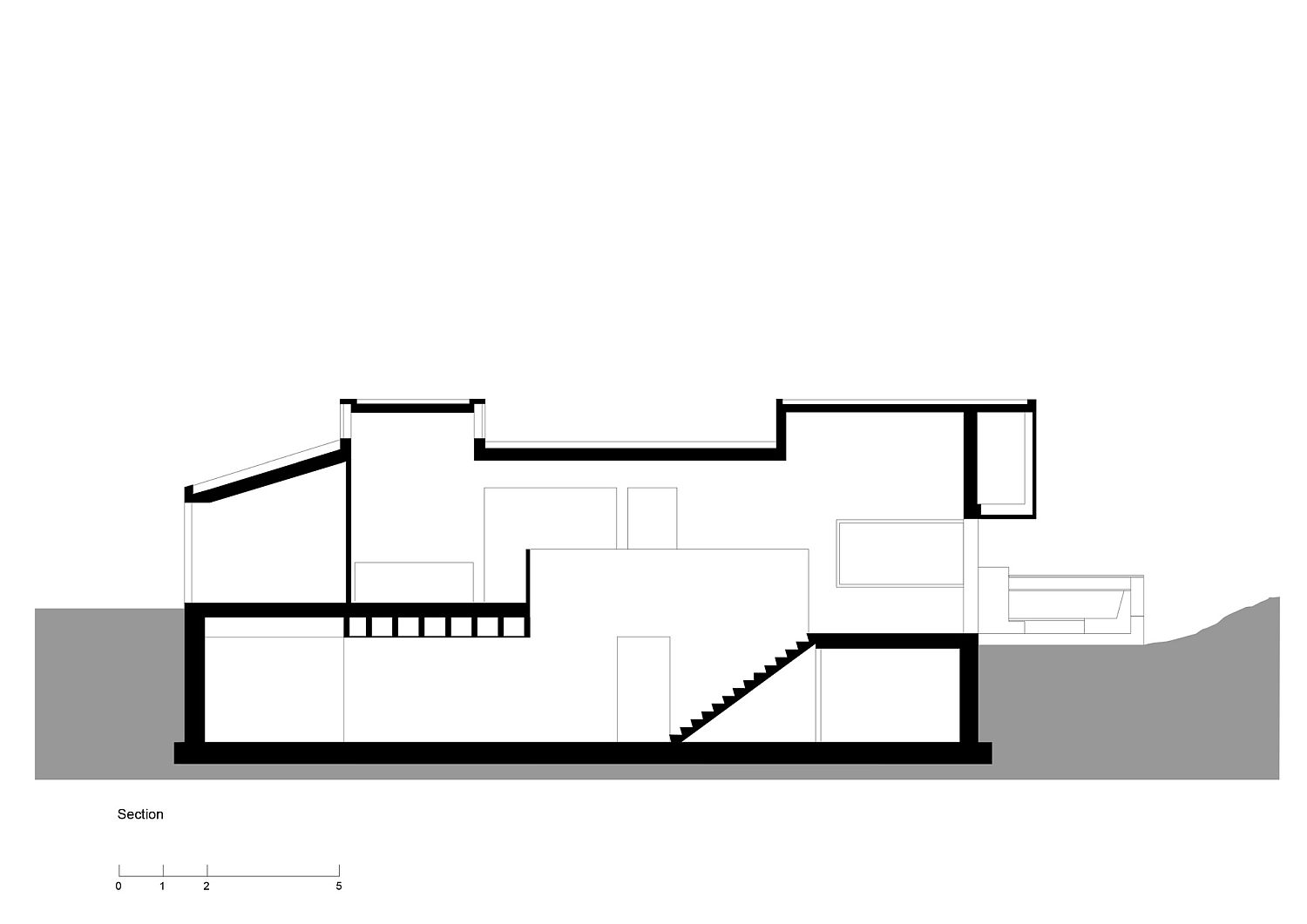 Sectional view of the Holday House in Netherlands