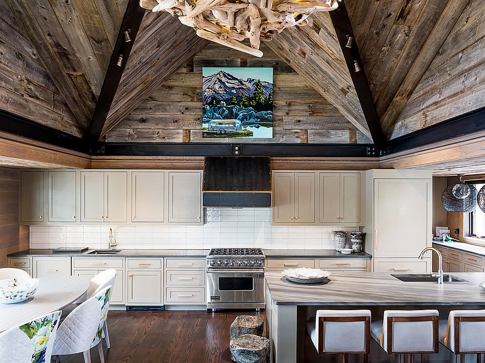 Smart balance between rustic and modern styles in the kitchen