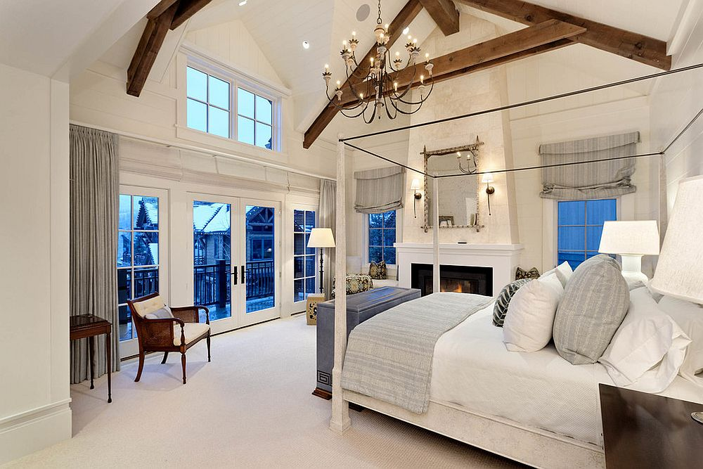 Spacious farmhouse style bedroom uses beige in a brilliant fashion