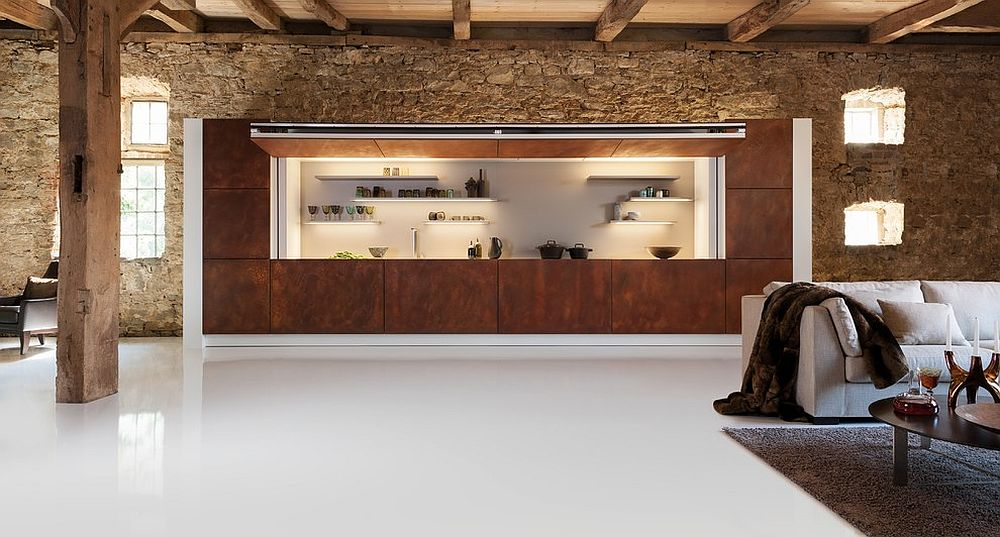 Unique kitchen area clad in corten steel