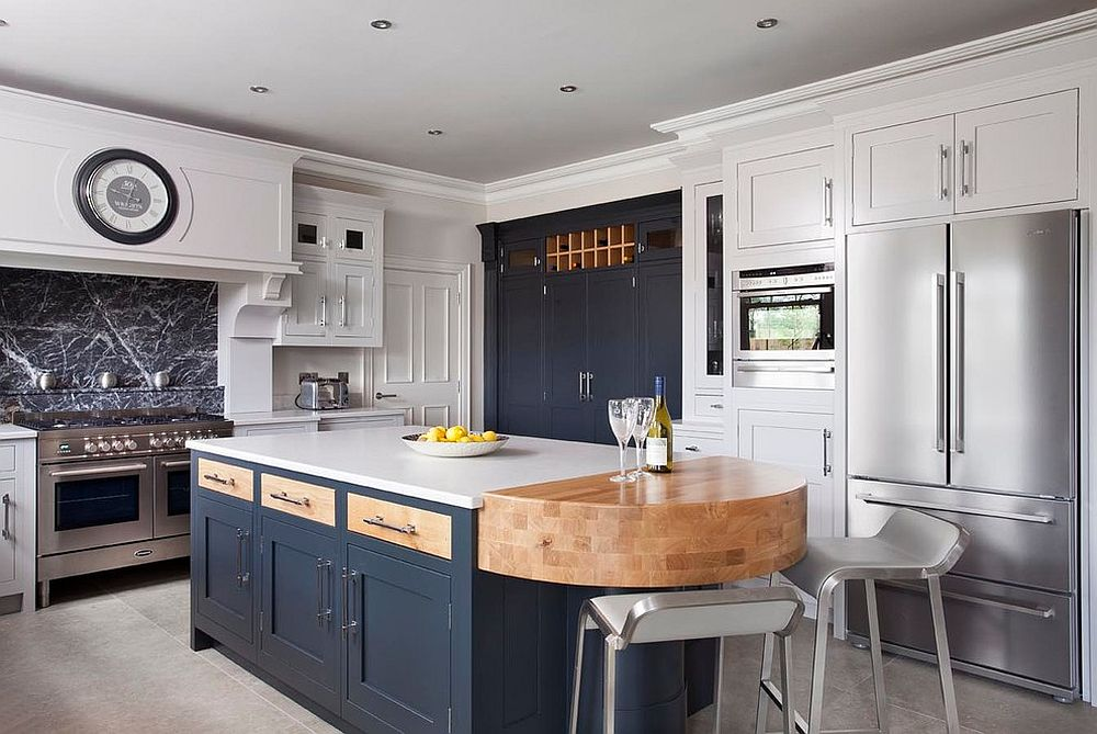 White and navy blue handpainted kitchen is both smart and classic