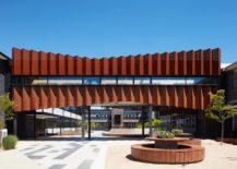 Zig-zag-corten-panels-for-the-exterior-of-Flyover-Gallery-at-Caroline-Chisholm-College-217x155
