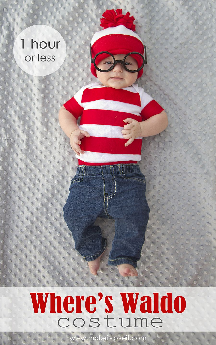 1-hour DIY Baby Wheres Waldo costume for Hallowee