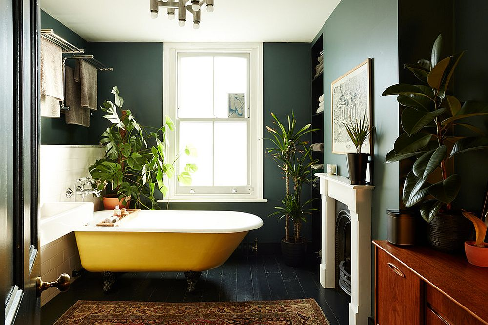 A splash of yellow for the dark eclectic bathroom