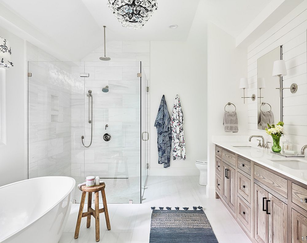 Add color to the bathroom in a minimal, understated fashion