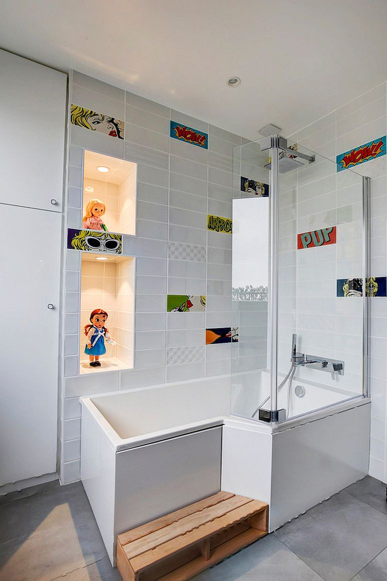 Adding collectibles and dolls to the bathroom is a fun way to usher in color