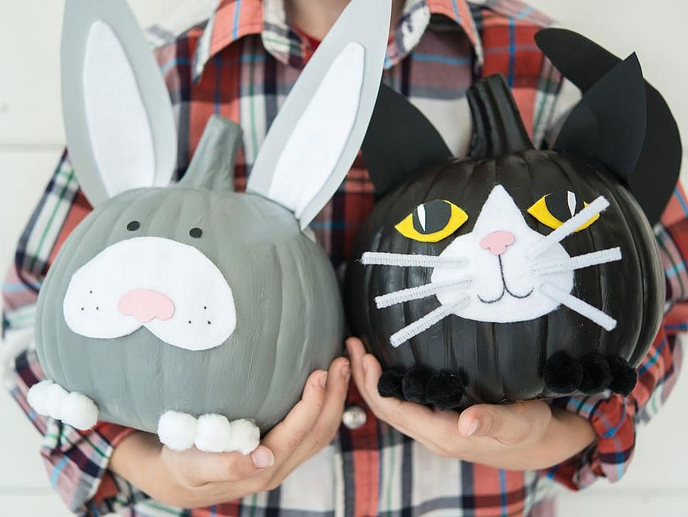 Awesome playful pet pumpkins DIY for a lovely Halloween