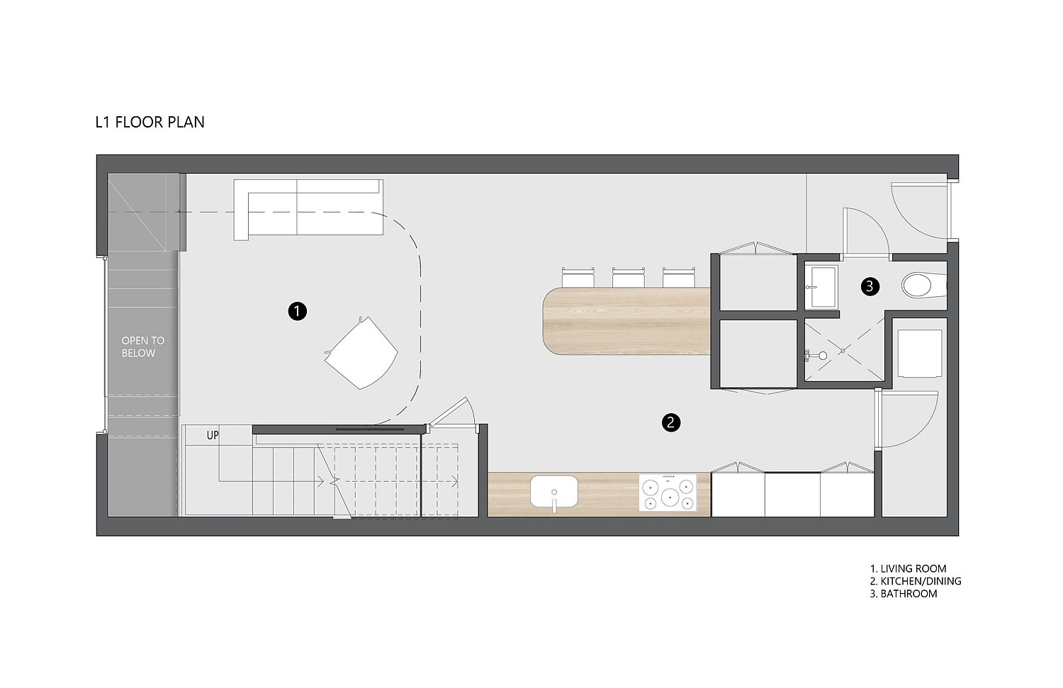 Base level floor plan of the loft sitting inside a chrch