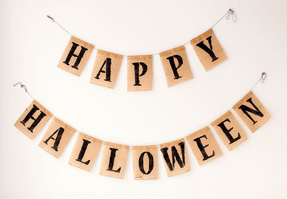 Basic Halloween burlap banner can be crafted in no time at all
