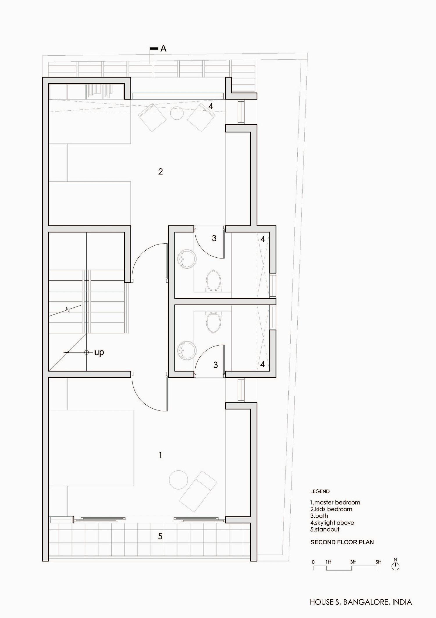 Bedroom level floor plan of House S
