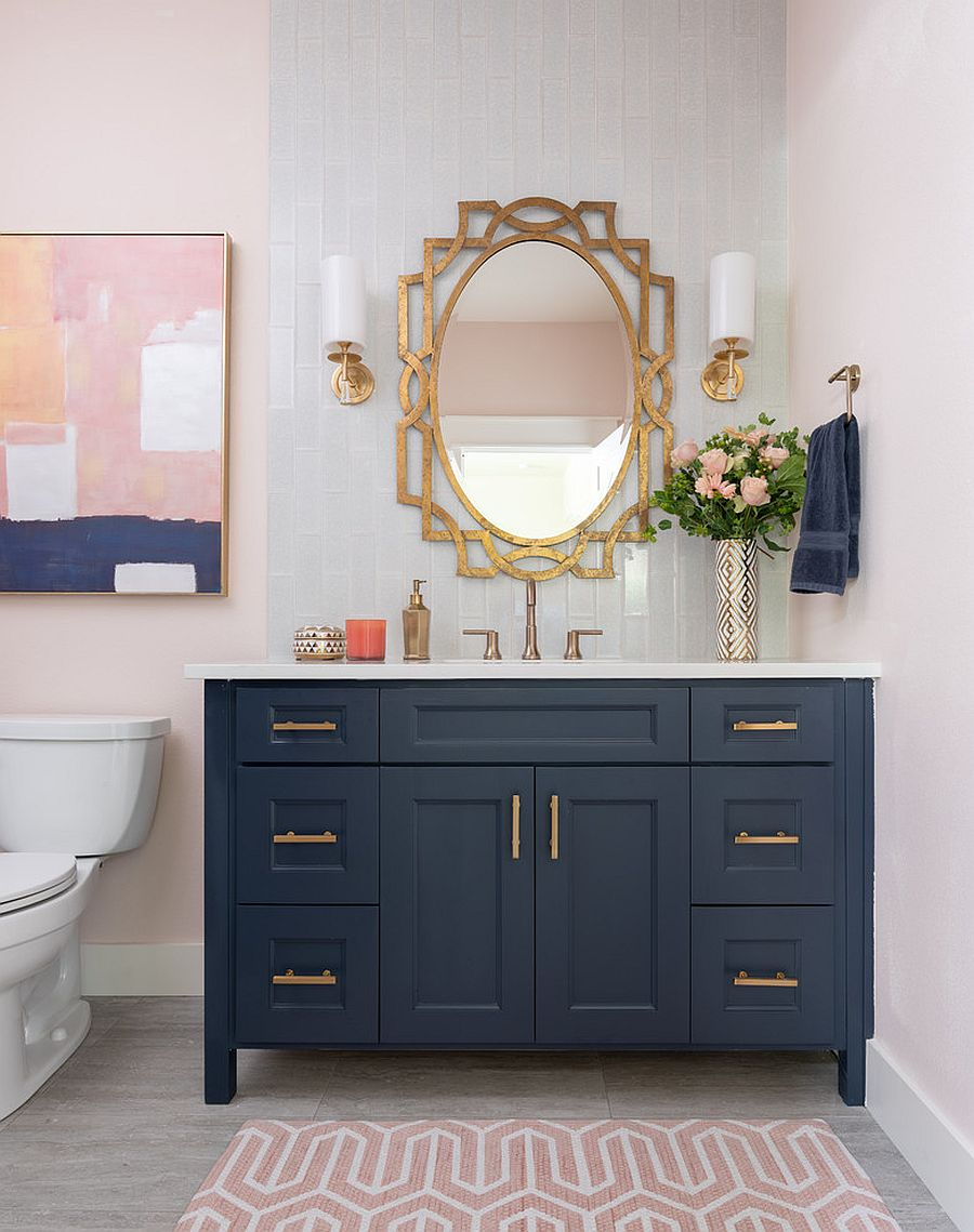 Combining two hot decorating trends of the season - navy blue and metallics!