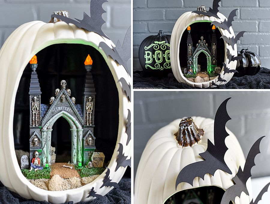 Creative DIY Bat Pumpkin Diorama