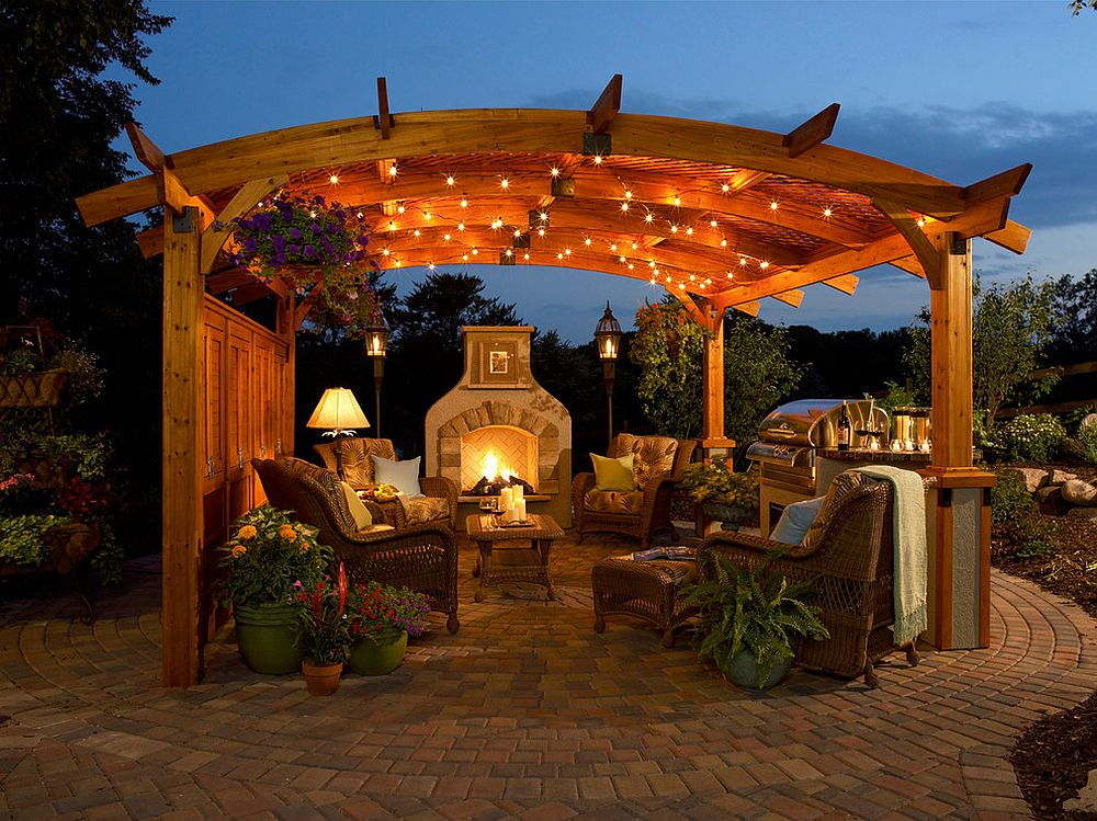 Curved pergola for the patio is a showstopper
