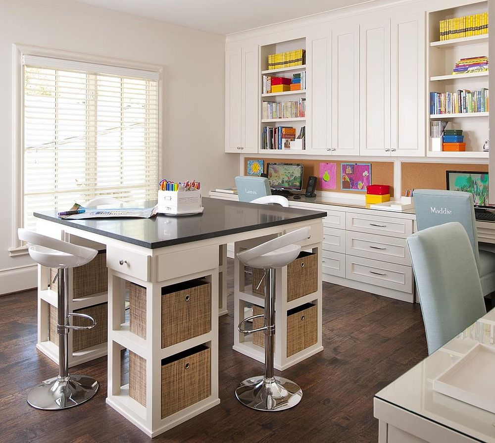 Custom designed furniture along with ample space for the spacious kids' study room