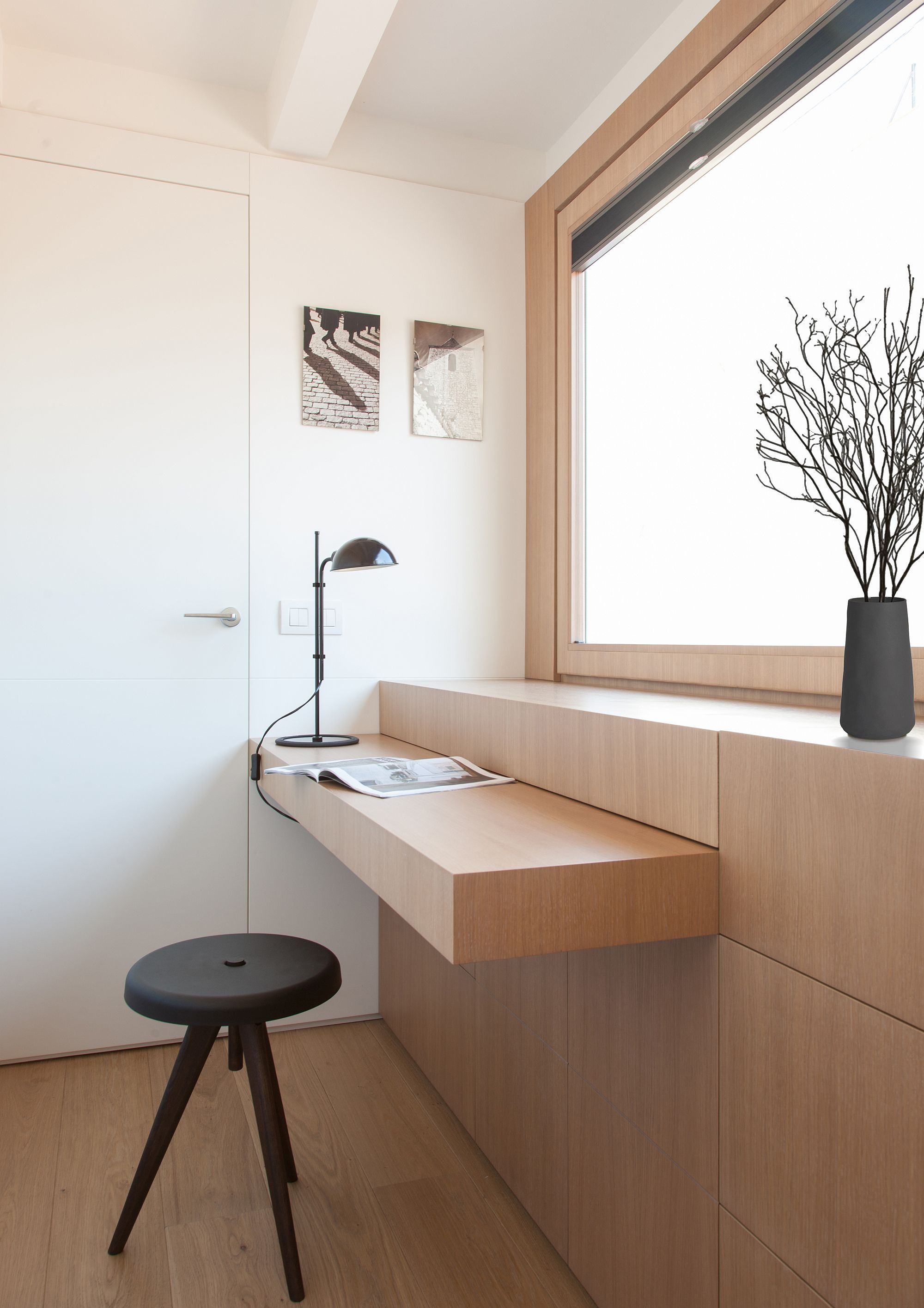 Custom foldable tables and wall-mounted additions inside the home
