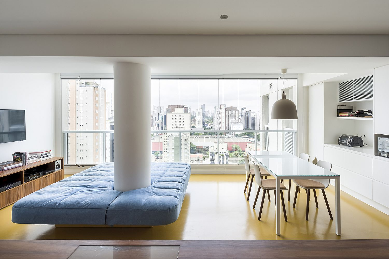 Custom Wooden Box with Bedroom Transforms Small Sao Paulo Apartment