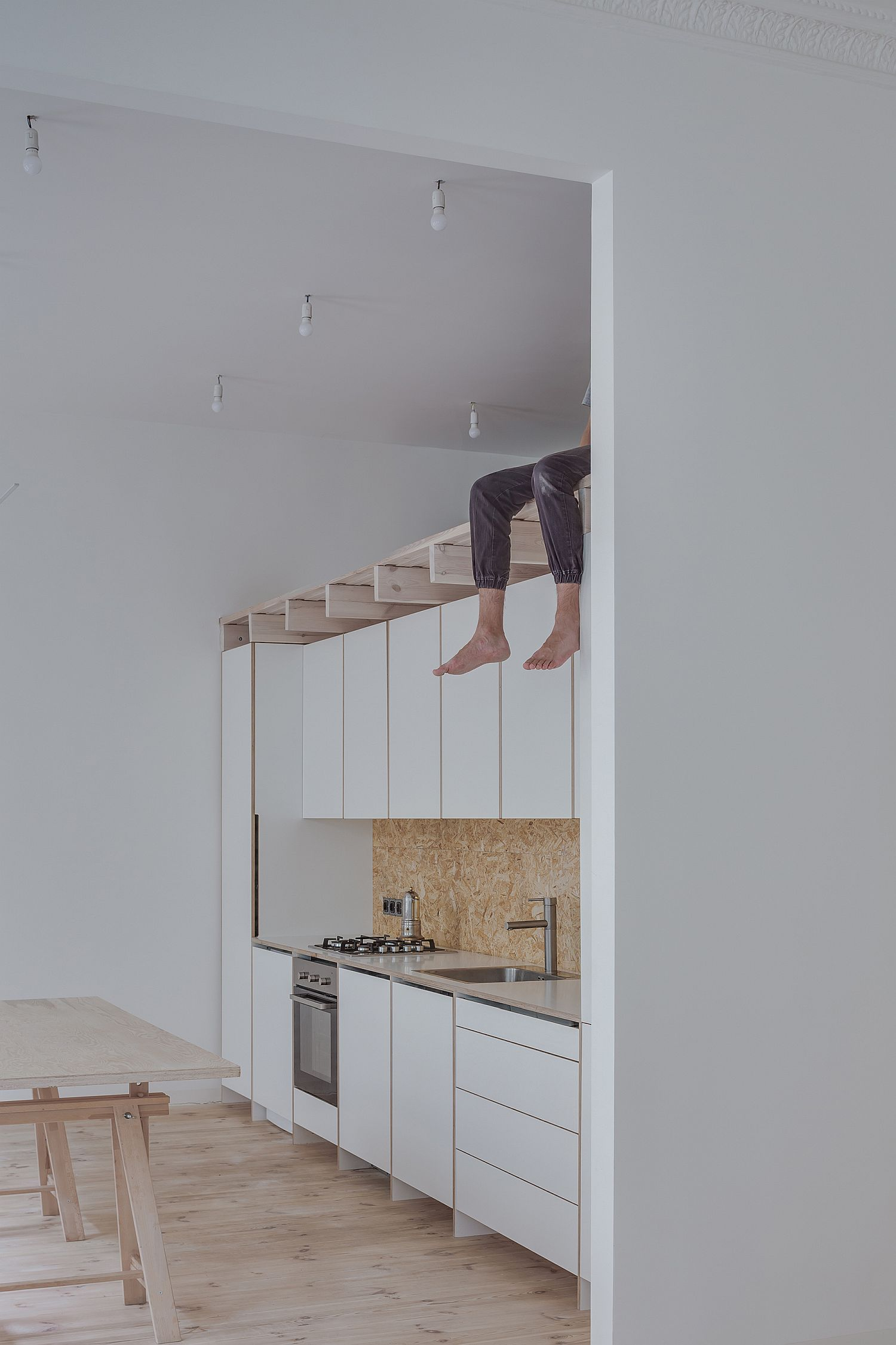 Custom-wall-for-kitchen-and-bathroom-with-space-above-for-storage
