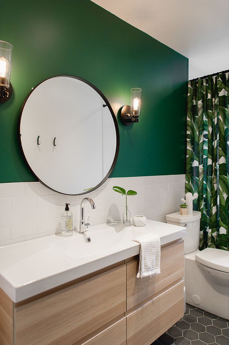 Dark-green-adds-tropical-touch-to-the-beach-style-bathroom-along-with-the-shower-curtain