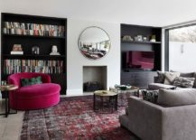 Dark-shelving-anchors-the-neutral-room-with-pops-of-bright-fuchsia-217x155