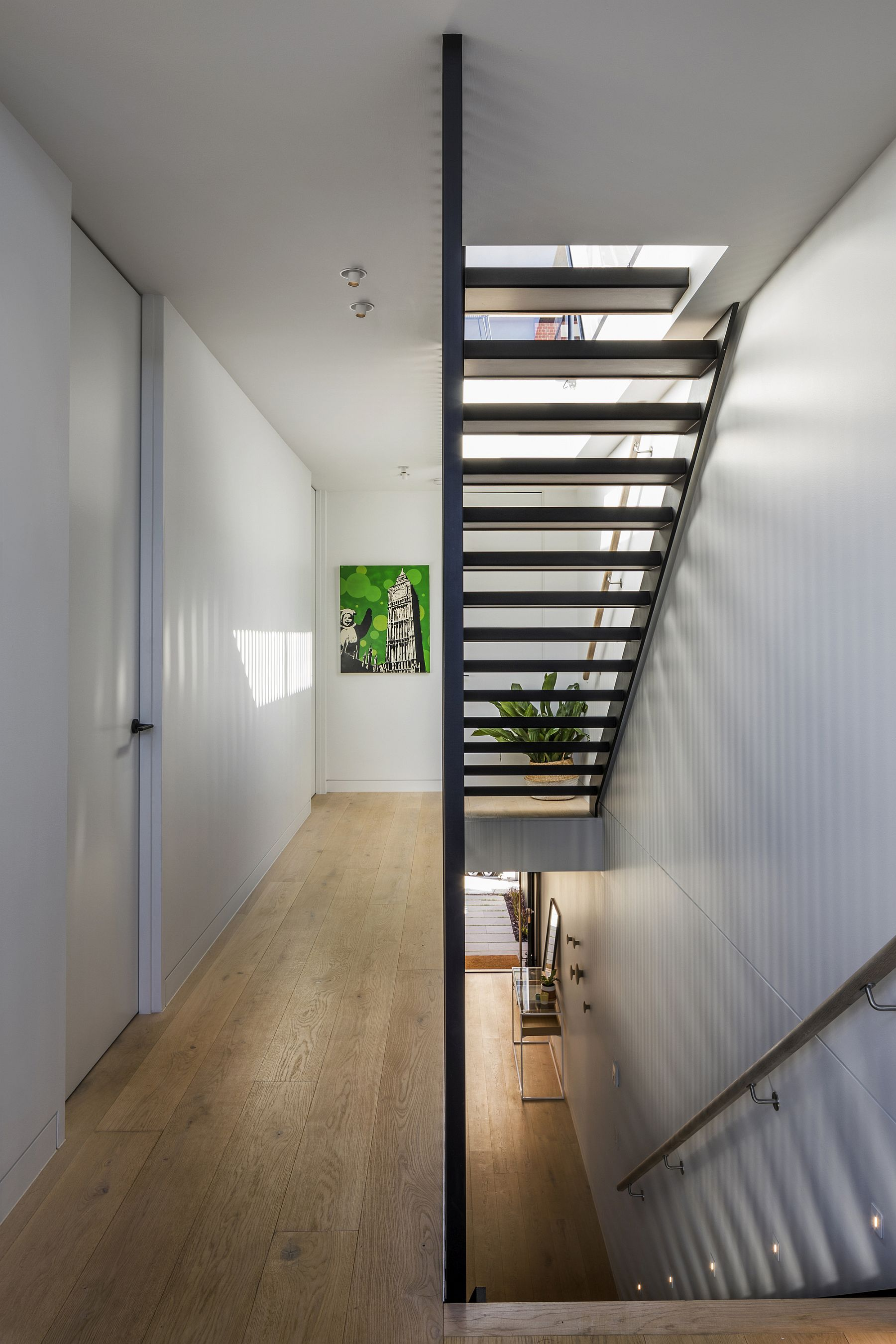 Design of the staircase also brings in ample natural light