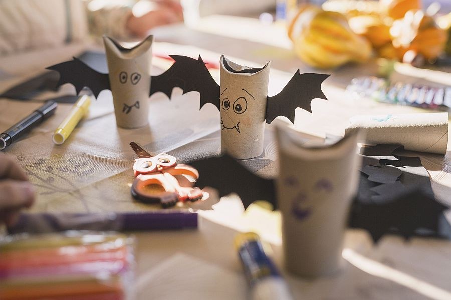 Easy to make toilet paper vampires for kids