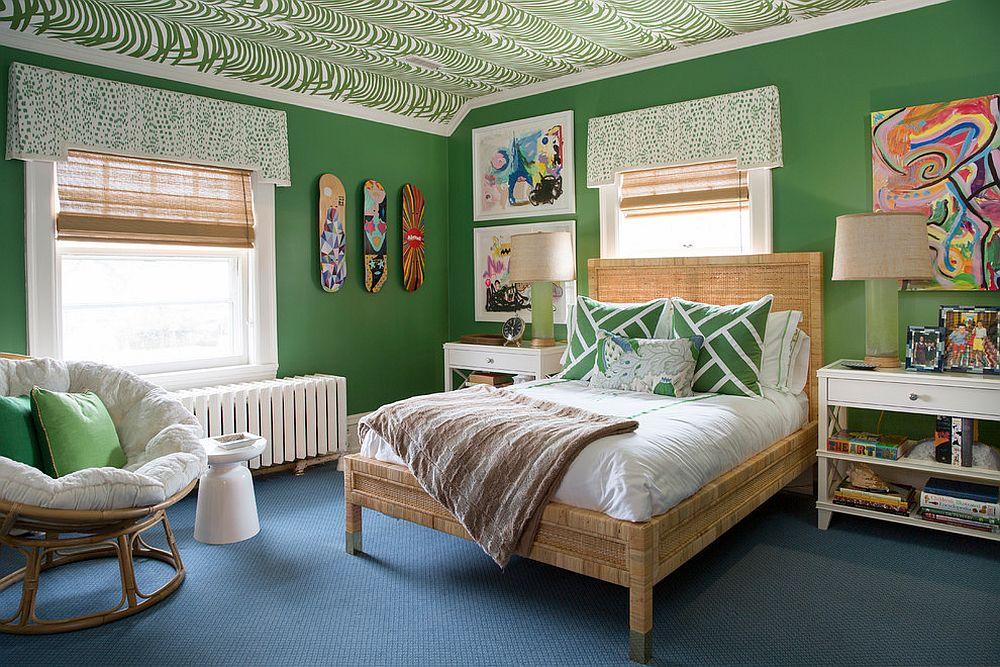 Eclectic-kids-bedroom-full-of-green