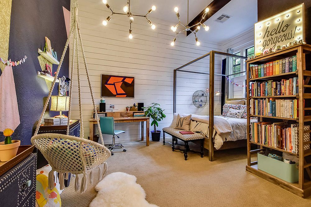 Eclectic teen bedroom with plenty of space for books and a smart study area