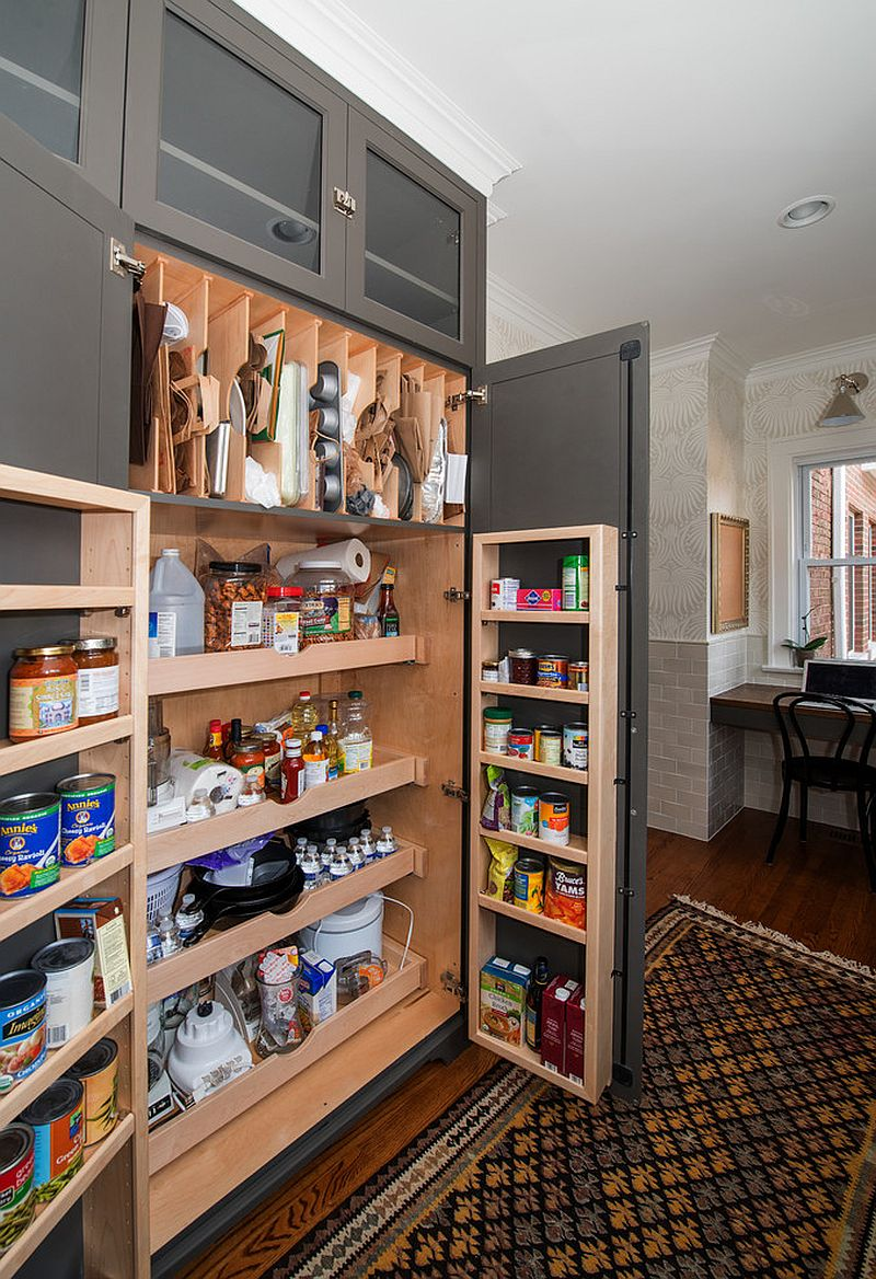 gray pantry doors that also have storage on them