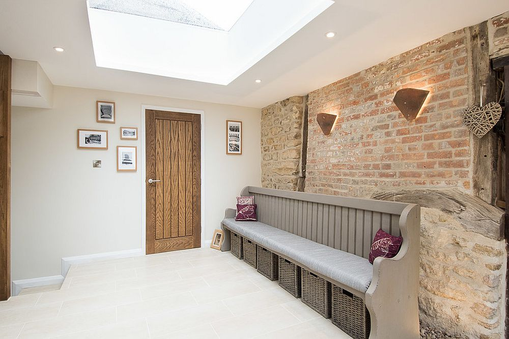 Exquisite-entry-with-brick-wall-backdrop-and-a-skylight