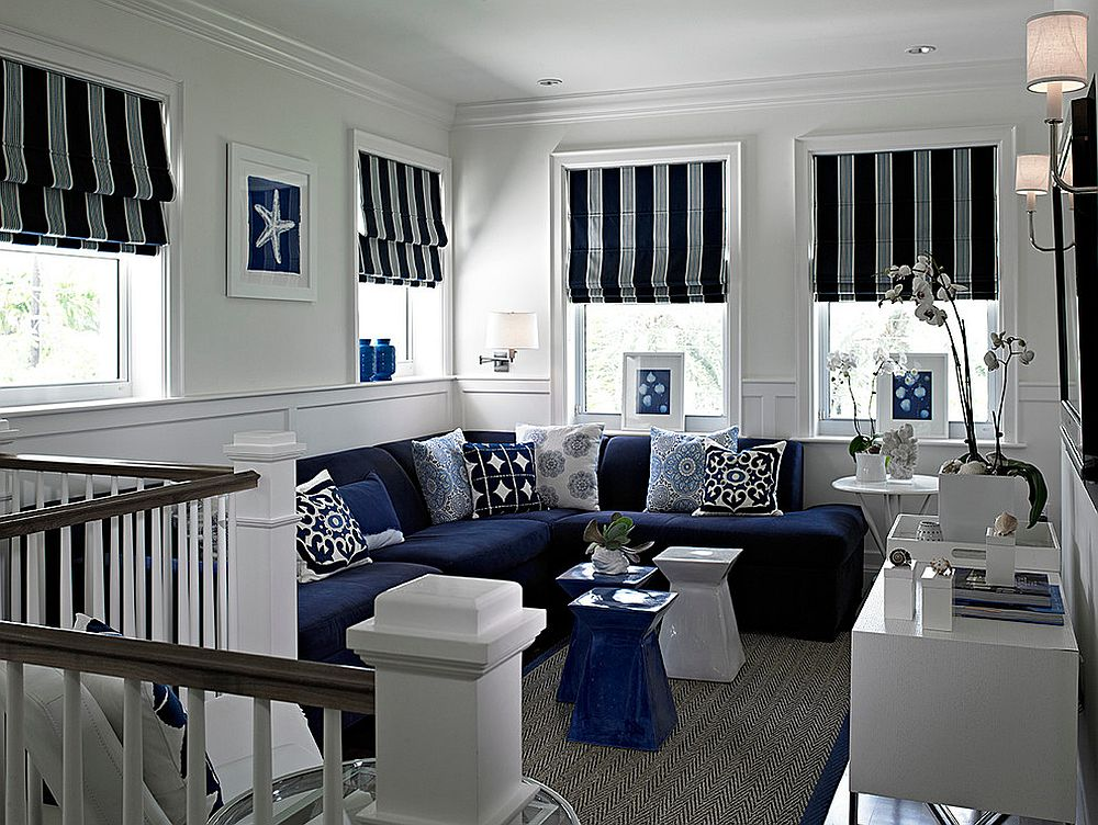 Family room with loads of blue and coastal panache