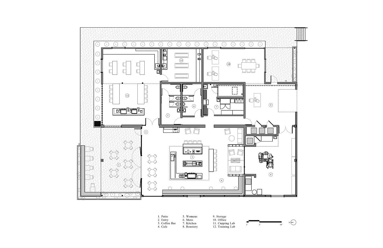 Floor plan of Greater Goods Coffee in Austin, Texas