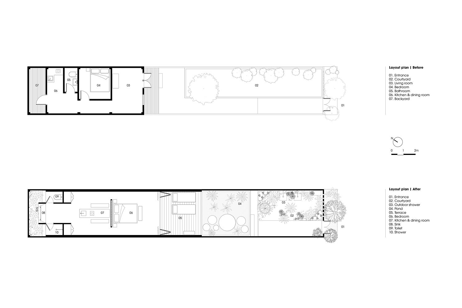 Floor plan of the Hill Lodge before and after conversion
