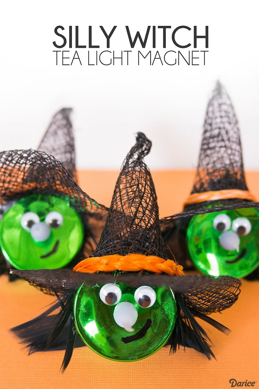 Fun Halloween Witch Tea Light Magnets bring in lots of color!