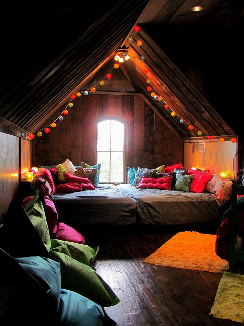 Gorgeous use of string lights in the lovely bohemian style attic bedroom
