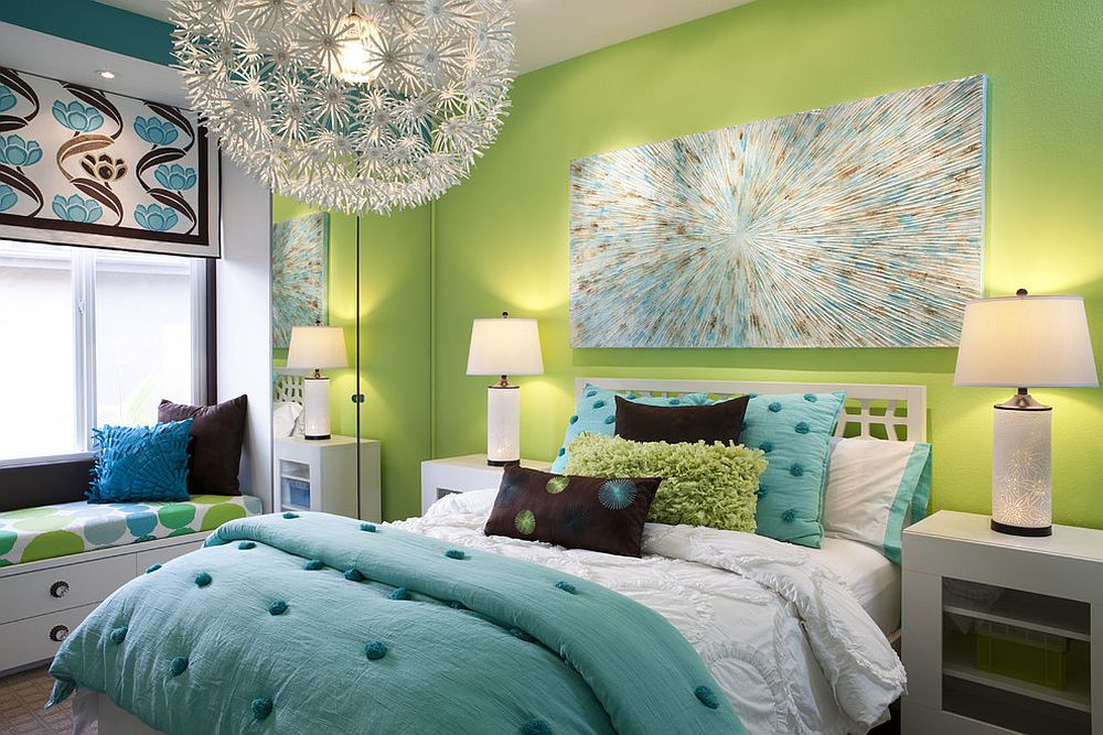 Green-accent-wall-for-the-contemporary-kids-bedroom-in-white-with-pops-of-blue