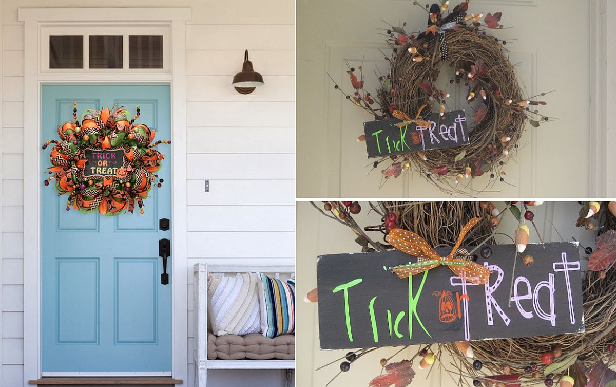 Halloween wreath with trick or treat sign