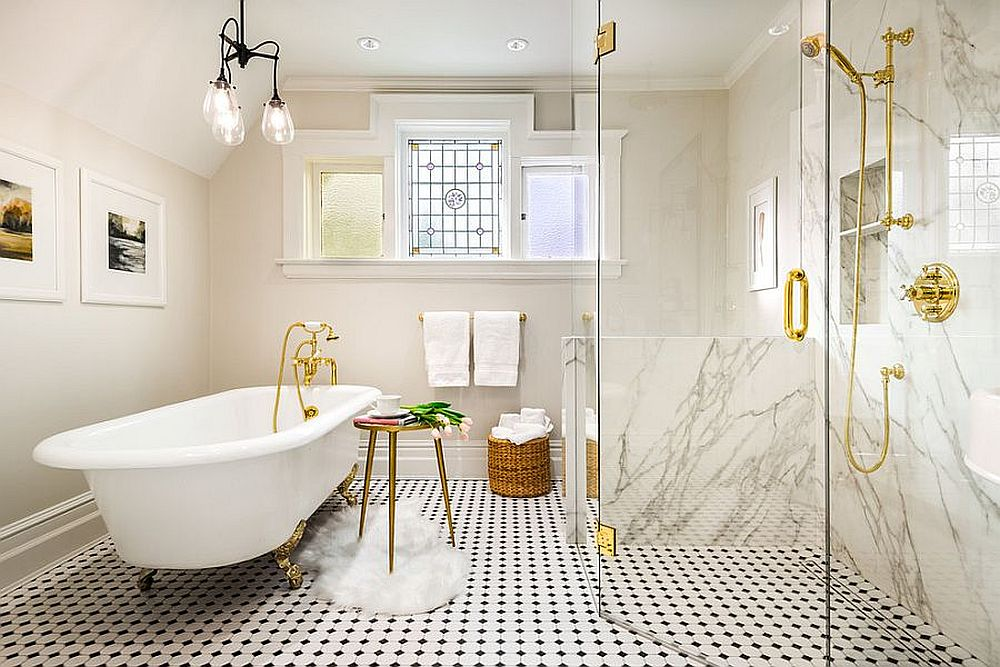 It need not always be color that brightens the bathroom